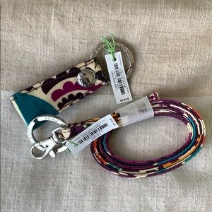NWT Vera Bradley Plum Crazy Keychain and Lanyard